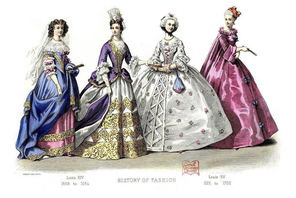 tavola di abiti del 1700 per mostrare l'uso della borsa allora | articolo di let's sew